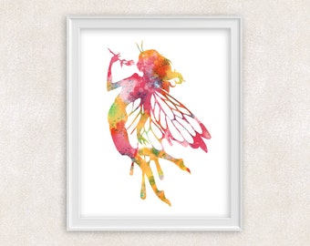 Fairy Watercolor Painting in Pink, Yellow, Blue - Whimsical Fairy Art - Kids Wall Art - Home Decor 8x10 PRINT - Item #706B