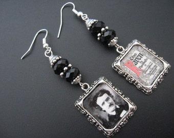 Poe Earrings, Poe Jewelry, Raven Crow Earrinigs, Raven Crow Jewelry, Horror Earrings, Mystery Macabre Jewelry,Rocker Earrings,Rocker Jewelry