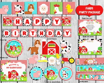 Farm Party Package INSTANT DOWNLOAD,Farm Party Decorations,Farm Old Mcdonald Birthday,Farm Barnyard Party Supplies, Animals Party Package