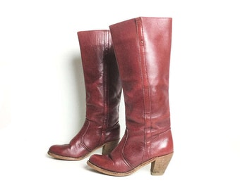 Boots, women's leather boots, vintage boots women's boots vintage shoes, size 65 boots, size 6 boots, brown boots, riding boots, tall boots