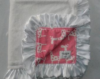 White Giraffe Blanket, Minky Blanket.