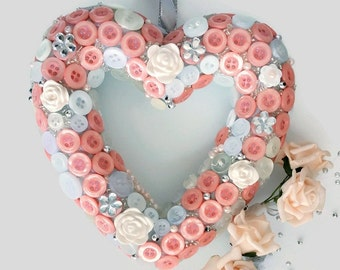 Peach grey Valentine Day heart,engagement,wedding decor,pew /aisle decoration,bridesmaid gift,door hanger, anniversary,home decor,button art