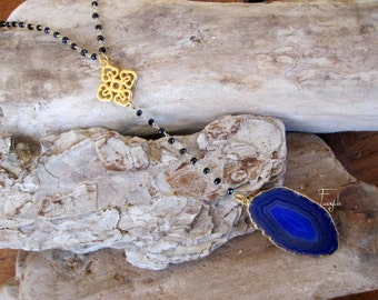 Brazilian Agate Slice Necklace - Geode Druzy Necklace -Aegean Blue - Black Spinel Rosary necklace- ooak - Aegean