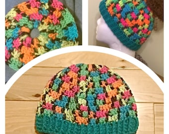 BlackLight Crochet Messy Bun Hat with Teal Band