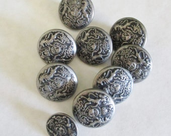Silver Metal Buttons, With Design , Shank Type, 5/8""