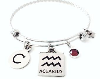 Personalized Aquarius bangle Aquarius Zodiac Personalized bangle bracelet Siver Aquarius bracelet Aquarius jewelry Zodiac bangle bracelet