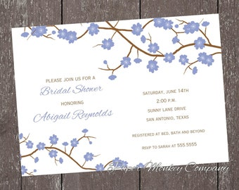 Blue Cherry Blossom Invitation