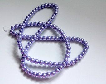 8mm Lavender Glass Pearls, Purple Pearls, Lilac Pearls, Purple Beads, Lilac Glass Pearls, Lavender Beads, Wholesale Beads, Wholesale Pearls