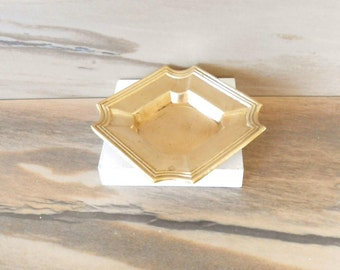 Solid Brass Square Tray,Jewelry Dish or Candle holder,Vintage Brass Trinket ,Catch all small plate,soap dish,