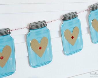 Blue Mini Mason Jar Heart Garland : Handcrafted Valentine's Day Decoration | Valentine's Party Decoration | Rustic Mantel Decoration | Heart