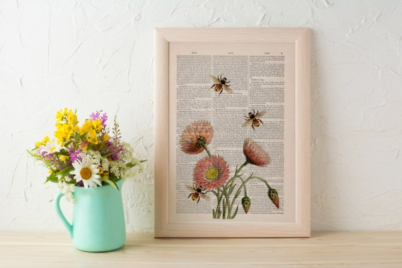 Bees with flowers 2 Dictionary art poster print- Wall decor bees insect ,wall art,home decor Wall art Poster art BFL004b