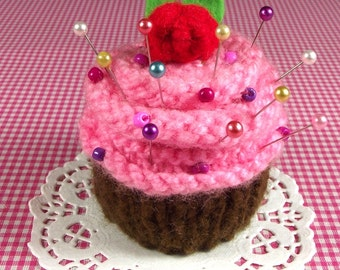 KNITTING PATTERN CUPCAKE Pincushion knit crochet dessert needlecraft Amigurumi Food - Strawberry Chocolate - Pdf Pattern Instant Download