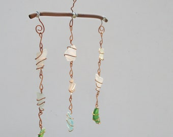 Recycled Wire Wrapped Glass Mobile Home and Garden Decor