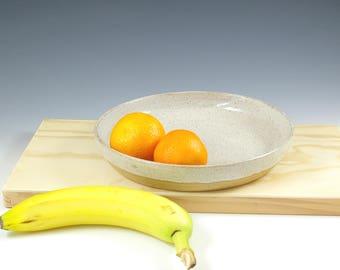 Handmade Pottery Bowl, Low Ceramic Fruit Bowl, Medium Low Bowl, Eight 8 inch, Serving Bowl,  Kitchen Gift, Modern Grey Pottery Gourmet Gift