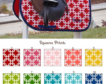 Custom Saddle Pad Squares/Knots Print Many Colors - MADE TO ORDER