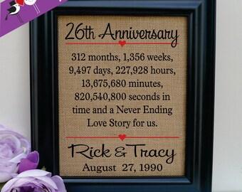 26th anniversary gift to Wife Anniversary gift to Husband Gift for Wife Anniversary Gift for Husband gift to her gift to him(ann302-26)