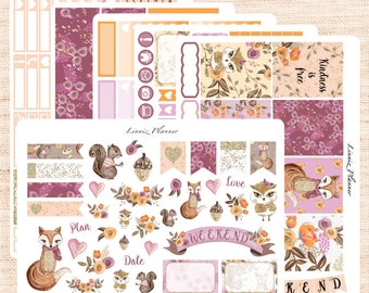Woodland Weekly Kit or Al a Carte (matte planner sticker, fits perfect in Erin Condren Life Planner Vertical)