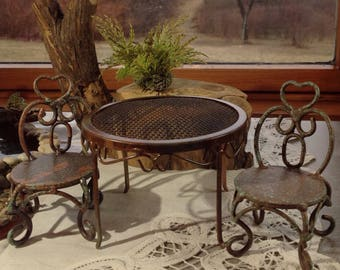 Copper and Verdigris Finish Miniature Metal Garden Table and Two Chairs, Fairy Garden Furniture, Fairy Garden Accessory, Dollhouse Table