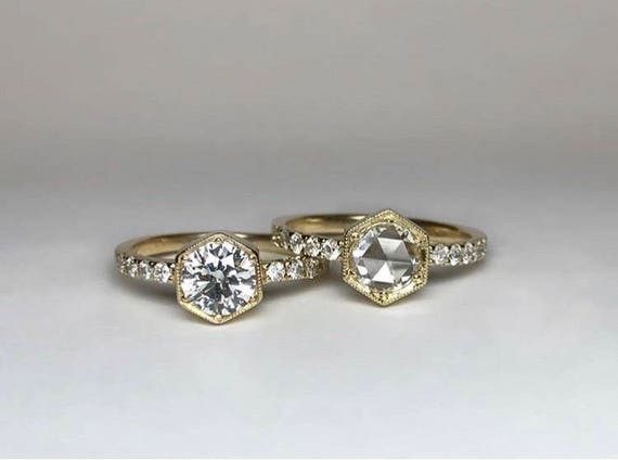 Hexagon Rose Cut Engagement Ring with Diamond Band