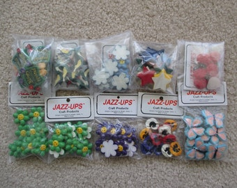 Scrapbooking Embellishments: Spring Flat Back Resin Jazz-Ups from Delight | Flowers, Butterflies, Birds, Ladybugs, Stars, Smiley Faces