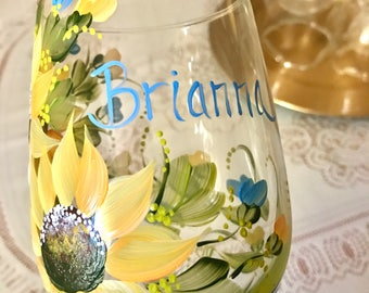 Free shipping Sunflower hand painted personalized glass for Mom Grandma Sister Aunt  Bridesmaids Etc.