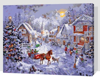 Paint by Number Kit STRETCHED CANVAS Wood Frame 16x20 Sleigh Ride GX7429