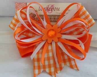 Orange Baby Headband - Dressy Orange Headband - Orange and White Headband