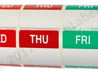 7pc Combo Pack Day of the Week Labels (500 labels/roll, 1 roll/day) BPA Free!