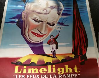 Original 1950s Limelight French Movie Poster, Giant 47x63 Linenbacked Charlie Chaplin