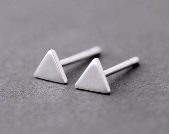 Tiny Triangle sterling silver studs, Geometric silver post earrings, single silver stud