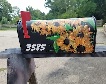 Hand Painted Mail box, sunflowers, vines, standard size metal