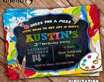SALE 50% OFF Art Party Invitation - Art Birthday Invitation - Art Birthday Party - Paint Party Invitation - Printable Invitation