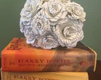 Harry Potter Bouquet, Harry Potter Paper Roses, Harry Potter, Book Page Flowers, Paper flower, Wedding Decor, Bride, Flowers, Roses, Vintage