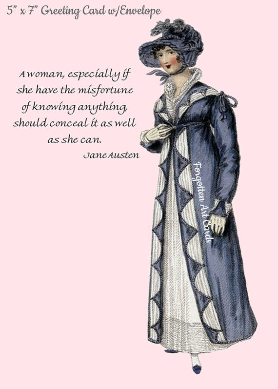 """Jane Austen Card, A Woman Especially If She Have The Misfortune Of, 5"""" x 7"""" Greeting Card w/Envelope, Blank Inside, Pretty Girl Postcards"""