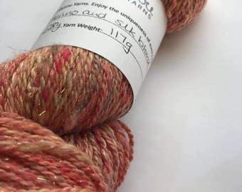 Hand Spun Merino and Silk Blend - Peach Sparkle 117g