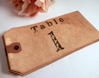 15 Table Numbers. Vintage Wedding. Table Cards. Shabby. Rustic. Cottage Chic. French. Hang Tag. Paper Luggage Tag. Dyed. Aged. Stained. DARK