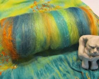 PINBALL WIZARD 4.0 oz, spinning fiber, sari silk, bling batt, Angelina sparkle, textured batt, felting fiber, art yarn fiber, roving, batt