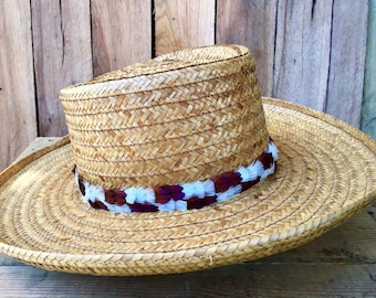 Narrow feather hat band on leather for Panama straw hat, Cowboy hat - white & brown pheasant feathers