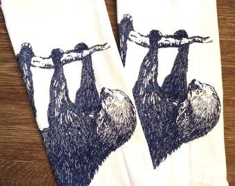 Towel Set of 2 - Tree SLOTH - Multi-Purpose Flour Sack Bar Towels - Renewable Natural Cotton