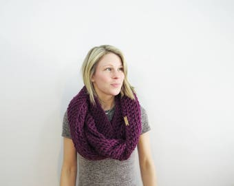 Crochet Infinity Scarf. luxury gift for her. Eternity Scarf. Magenta Scarf Oversized Circle Scarf. Knit Infinity Scarf Chunky Crochet Scarf.