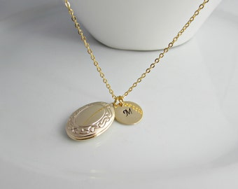 Victorian Locket Necklace, Gold Initial Necklace, Locket Necklace, British Seller UK, Gifts for Girls, Bridesmaid Gifts, Oval Locket, BFF
