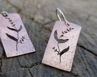 Copper Wildflower earrings, floral Earrings, Copper earrings, Geometric floral Earrings