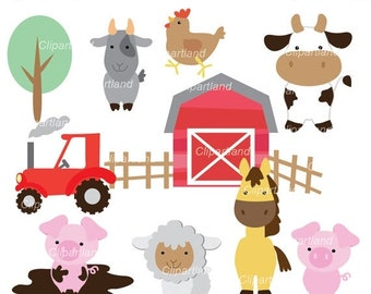ON SALE INSTANT Download. Farm animals clip art.  Cf_2_Farm. Personal and commercial use.