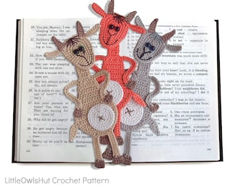 063 Goat Bookmark or decor - Amigurumi Crochet Pattern - PDF file by Zabelina Etsy