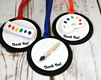 Little Artist Birthday Party Favor Tags, Goody Bag Ties, Bag Toppers (set of 12)