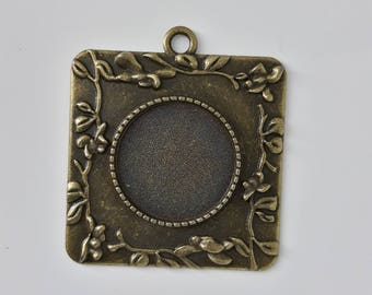 Support pendant Charm with flowers 20 mm round Cabochon. Bronze metal. To personalize as you wish. Retro Vintage.