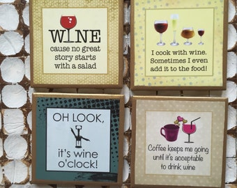 COASTERS!!! Set of funny wine drinkers coasters with gold trim
