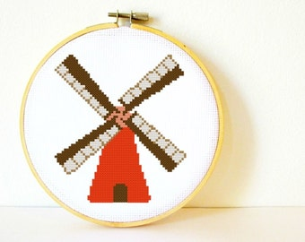 Cross stitch Pattern PDF. Instant download. Dutch Windmill. Includes easy beginners instructions.