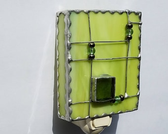 Stained Glass Night Light,  Green Glass