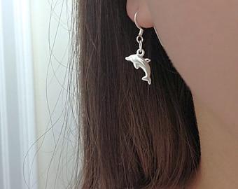 Sterling Silver Dolphin Earrings, dolphin earrings, silver dolphin Earrings, Lightweight Earrings, dolphin earrings jewelry. Porpoise